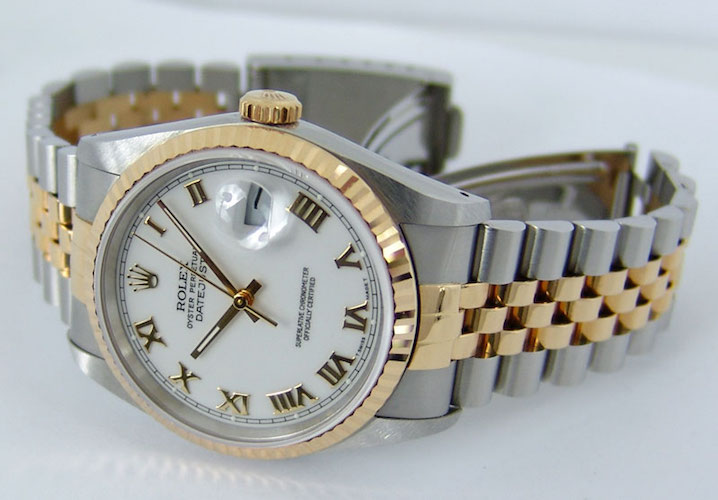 rolex-datejust-yellow-gold-steel-white-roman-dial-16233-jubilee-1990-1997-watch-chest