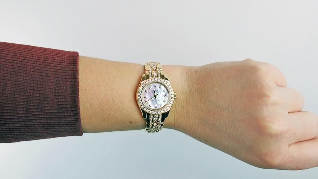 Rolex Lady-Datejust Pearlmaster Triple Row Diamond Bracelet on Wrist