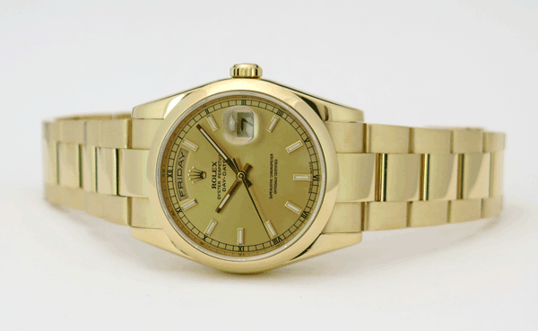 Rolex Day-Date with Oyster Band and Domed Bezel - Model 118208
